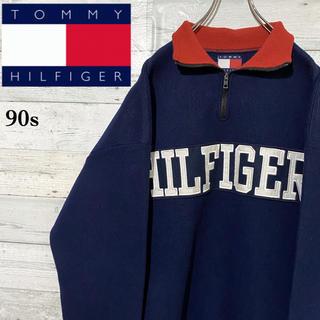 TOMMY HILFIGER - 【激レア】トミーヒルフィガー☆刺繍ビッグロゴ ハーフジップ フリース 90s