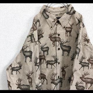 ウールリッチ(WOOLRICH)のレア ウールリッチ トナカイ柄 総柄シャツ XL ベージュ 厚手 90s(シャツ)