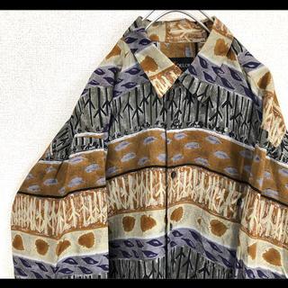 アランドロン(Alain Delon)のALAIN DELON シルク100% 総柄シャツ 柄シャツ M レトロ 90s(シャツ)