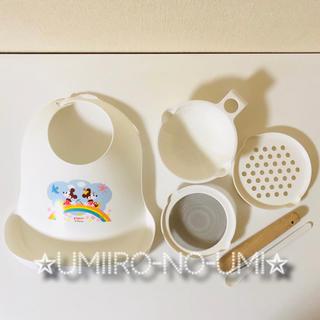 ディズニー(Disney)のディズニー ミッキー&フレンズ 調理&食べこぼしキャッチエプロンセット 離乳食(離乳食調理器具)