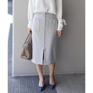 ノーブル(Noble)のNOBLE ノーブル T/Wダブルクロスフープジップタイトスカート(ひざ丈スカート)