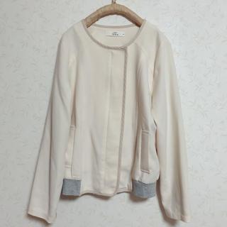 ikka - ノーカラー異素材ジャケット