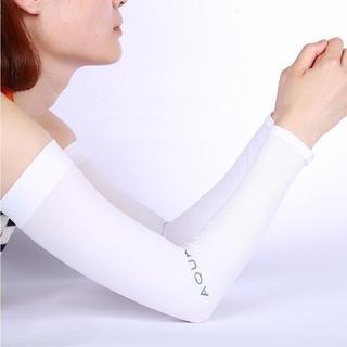 aquaX 接触冷感 UV アームカバー レディース 指穴なし ホワイト(その他)