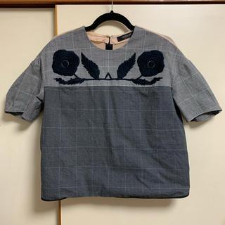 オオシマレイ(OSHIMA REI)のOSHIMA REIオオシマレイ グレンチェック 半袖トップス(シャツ/ブラウス(半袖/袖なし))