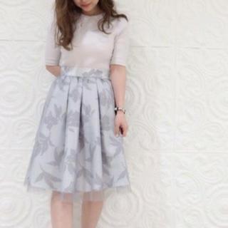 ダズリン(dazzlin)のdazzlin フラワーチュールスカート 美品(ひざ丈スカート)