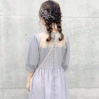 メルロー(merlot)の バックレースチュールワンピース(ミディアムドレス)