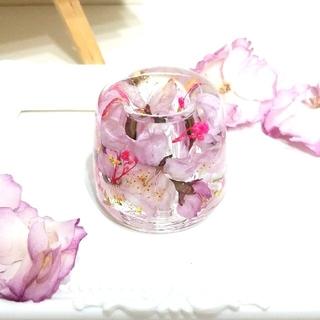 ★最終SALE★No.81 夜桜風★固まるハーバリウムペン立て•印鑑立て(ドライフラワー)