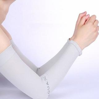 aquaX 接触冷感 UV アームカバー レディース 指穴なし グレー(その他)