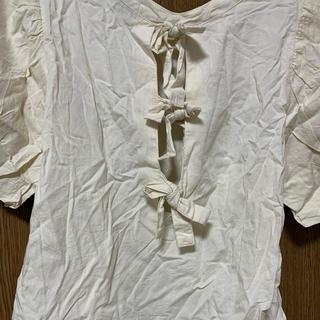 ダブルクローゼット(w closet)の(訳あり)w closet バックリボンシフォン袖半袖シャツ(シャツ/ブラウス(半袖/袖なし))
