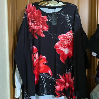 ミルクボーイ(MILKBOY)のCIVARIZE tシャツ ロンティー フラワー柄 赤(Tシャツ/カットソー(七分/長袖))