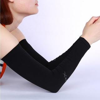 aquaX 接触冷感 UV アームカバー レディース 指穴なし ブラック(その他)