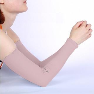 aquaX 接触冷感 UV アームカバー レディース 指穴なし ベージュ(その他)