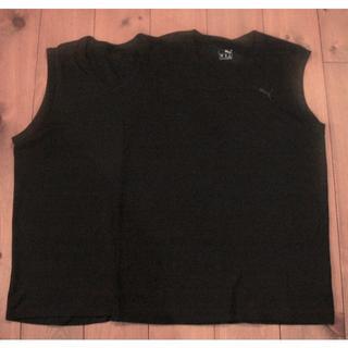 プーマ(PUMA)のノースリーブ Vネック アンダーシャツ 2枚セット 黒 メッシュ 150(下着)