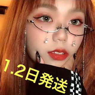 【日曜限定セール】伊達メガネ ファッション眼鏡 韓国 オルチャン シルバー(サングラス/メガネ)