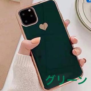 iPhoneX/Xs ケース ハート グリーン(iPhoneケース)
