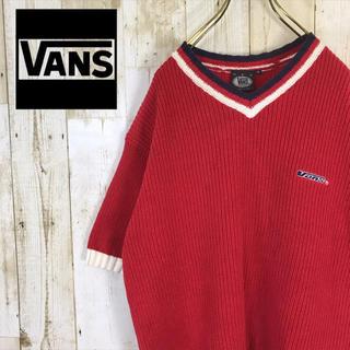 ヴァンズ(VANS)のVANS バンズ コットンニット 半袖 ワンポイント 刺繍ロゴ(ニット/セーター)
