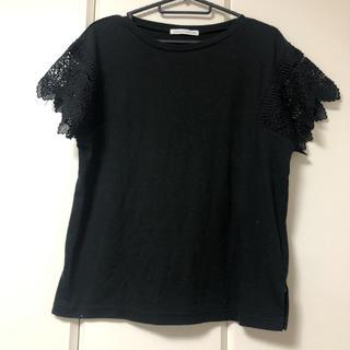 イーハイフンワールドギャラリー(E hyphen world gallery)のレースデザイントップス ブラック(Tシャツ(半袖/袖なし))