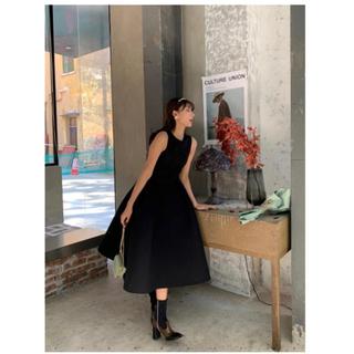 ザラ(ZARA)のbirthday bash クルーネックバルーンドレス BLACK S(ロングドレス)