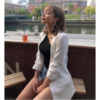 エイミーイストワール(eimy istoire)のZARA  ホワイトジャケット(ノーカラージャケット)