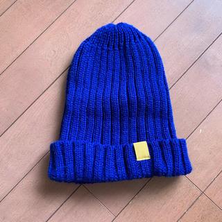ジーユー(GU)のニット帽 ニットキャップ 青(ニット帽/ビーニー)