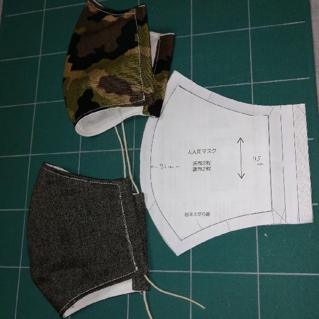 マスクカバー2枚セット(黒デニム+迷彩柄) ハンドメイドのハンドメイド その他(その他)の商品写真