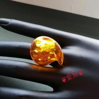 勾玉の琥珀(アンバー)の指輪・リング・女性、男性・ユニセックス・14号(リング(指輪))