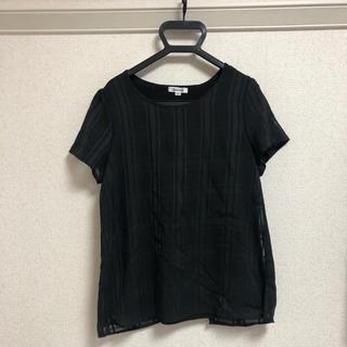 アルファキュービック(ALPHA CUBIC)の半袖 トップス 黒 ブロックチェック(シャツ/ブラウス(半袖/袖なし))