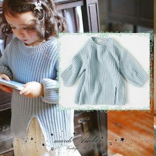 アンバー(Amber)の値下げ【90〜130】韓国子供服  ローゲージ ニット 白 水色 (ニット)
