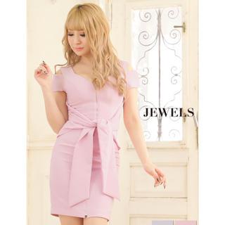 ジュエルズ(JEWELS)のjewels 大きいサイズ ミニ リボン ピンク(ミニドレス)