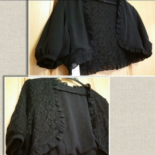 新品 リバーシブル ボレロ 結婚式 フォーマル 黒 黒色 ブラック 半袖 花柄(ボレロ)