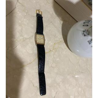 セイコー(SEIKO)のSEIKO 黒クロコ柄革腕時計(レザーベルト)