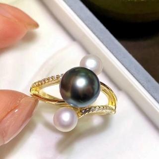 【高級】天然タヒチ黒蝶真珠&淡水真珠 リングs925(リング(指輪))