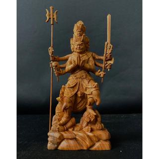 最高級品 極上彫 総ケヤキ材 仏教工芸品 木彫仏像 大元帥明王立像(彫刻/オブジェ)