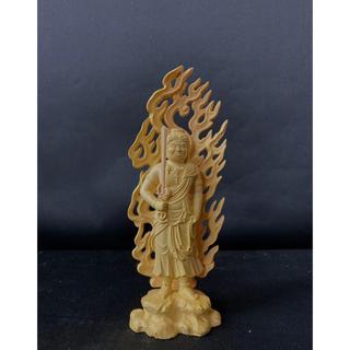 総柘植材 仏教工芸品 木彫仏像 極上彫 不動明王立像(彫刻/オブジェ)