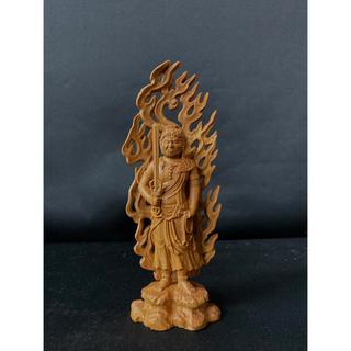総ケヤキ材 仏教工芸品 木彫仏像 極上彫 不動明王立像(彫刻/オブジェ)