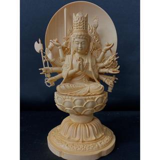 最高級品 極上彫 総檜材 仏教工芸品 木彫仏像 大隨求菩薩坐像(彫刻/オブジェ)