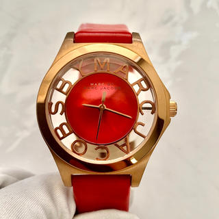 マークバイマークジェイコブス(MARC BY MARC JACOBS)のマークバイマークジェイコブス mbm1338 赤 レッド 腕時計 電池交換済み(腕時計)