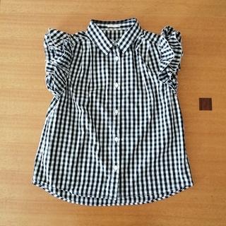 ジーユー(GU)のGU 女の子 150   チェックシャツ(ブラウス)