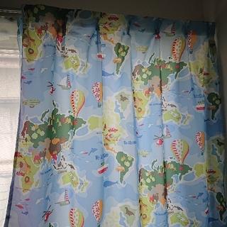 子供部屋カーテンセット かわいい世界地図柄 100✕135センチ4枚組水色系(カーテン)