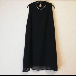 【新品未使用】シフォンAラインワンピース ブラック(ひざ丈ワンピース)