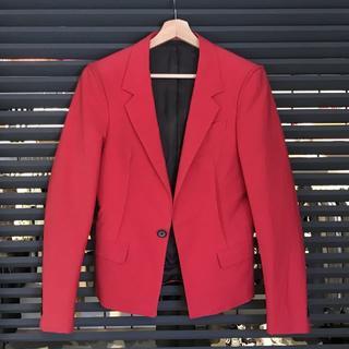 ランバン(LANVIN)の良品 ランバン テーラード ジャケット ショート レッド 赤(テーラードジャケット)