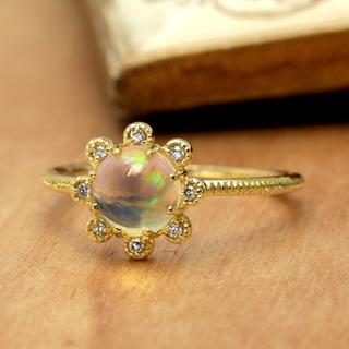 大人の雰囲気を感じるオパールリング K18YG サイズ9号(リング(指輪))