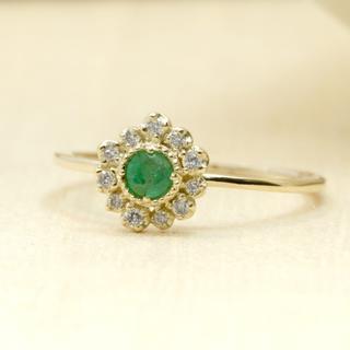 エメラルドの高貴な濃緑のかがやきが上品なデザインリング K10YG サイズ9号(リング(指輪))