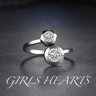 送料無料19号クロムシルバースーパーCZダイヤステンレスデザイナーズリング指輪(リング(指輪))