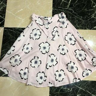 ワールドベーシック(WORLD BASIC)のピンクの花柄スカート 春夏用(ひざ丈スカート)