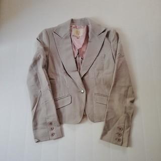 シンゾーン(Shinzone)のグレー ベージュ セットアップ Qショップ カジュアル スーツ キューショップ (テーラードジャケット)