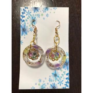 ハンドメイドピアスNO.133ドライフラワー円形(黄色&紫)(ピアス)