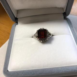 ジュエリーマキ(ジュエリーマキ)の❣️ PT900 ヴィンテージ 洗済 ガーネット ダイヤモンリング  9(リング(指輪))
