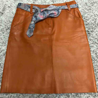 ロエベ(LOEWE)のLoewe レザー スカート 38(ひざ丈スカート)