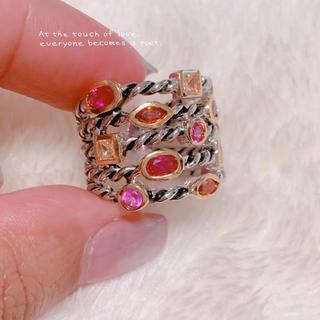 【vintage】赤ピンクオレンジビジューリング 美品 #15 15号(リング(指輪))